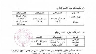 Photo of رزنامة الاختبارات الفصلية للسنة الدراسية 2020/2019